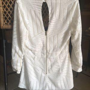 White sequin long sleeve romper Charlotte Russe